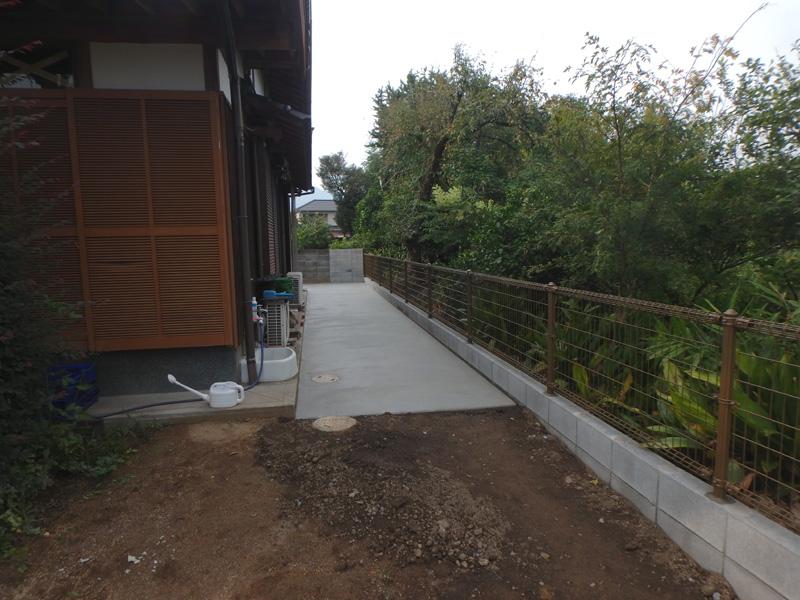 うきは市浮羽町高見 境界 石積 空洞ブロック フェンス コンクリート舗装 水道メーター 役所